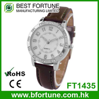 FT1435 China factory stainless steel back genuine leather geneva watch