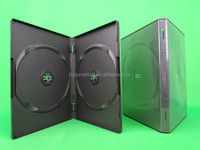 Factory Price 14mm Double DVD PP Box with outer clear plastic sleeve (Black)