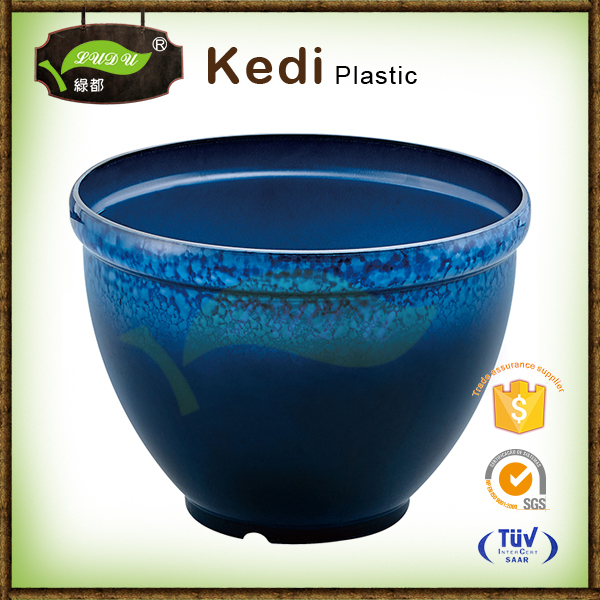 High Aqua Blue Round Ceramic Glazed Flower Pots/Planters Outdoor