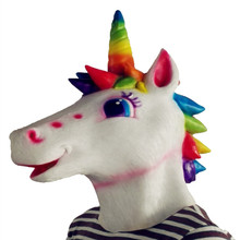 Realistic animal full face unicorn horse head silicone mask
