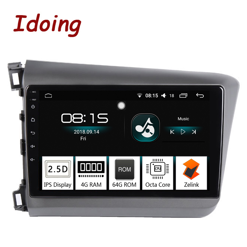 "Idoing 9""4G+64G Octa Core 1 Din Car Android 8.0 Radio Multimedia Player For Honda Civic 2010-2012 GPS Navigation and Glonass"