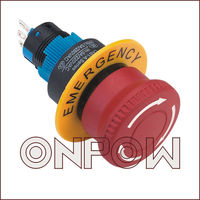 ONPOW emergency stop electrical button switch(LAS1-A 22mm Series,Dia.22mm,CE,ROHS,REECH,IP40,IP65)