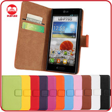 RF Manufacturer Book Style Card Holder Stand Wallet Pouch Leather Cover Case for LG Optimus L9 P769