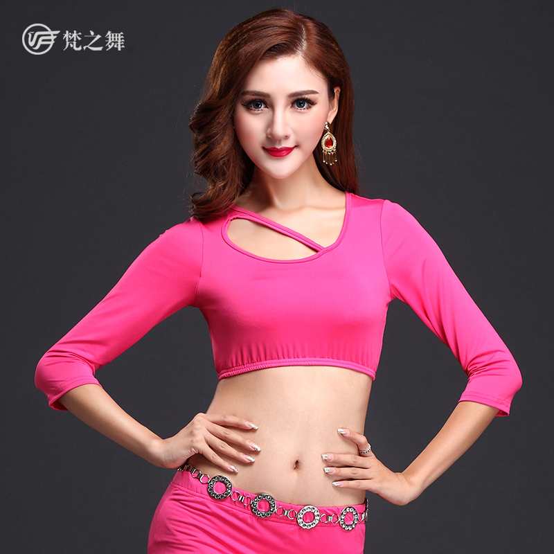 S451 Fashional milk silk half sleeve hot arab sexy belly dance cropped top