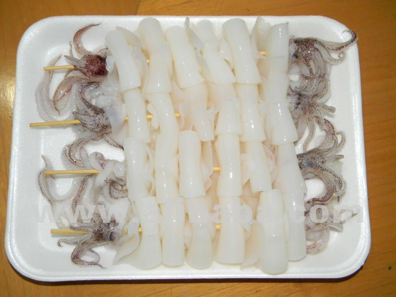 Frozen Loligo squid skewer