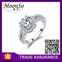 cheap copper Solitaire 925 sterling silver CZ diamond wedding funny engagement ring for women finger jewelry KR211A moonso
