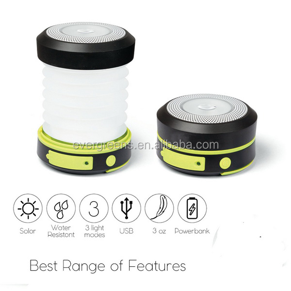 1W flexible and rechargeable solar camping lantern