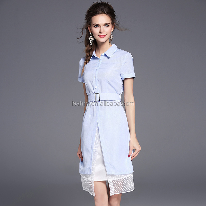 Summer dress for Women stipe long T-shirt dress and high-waisted Ladies Casual with belt dress