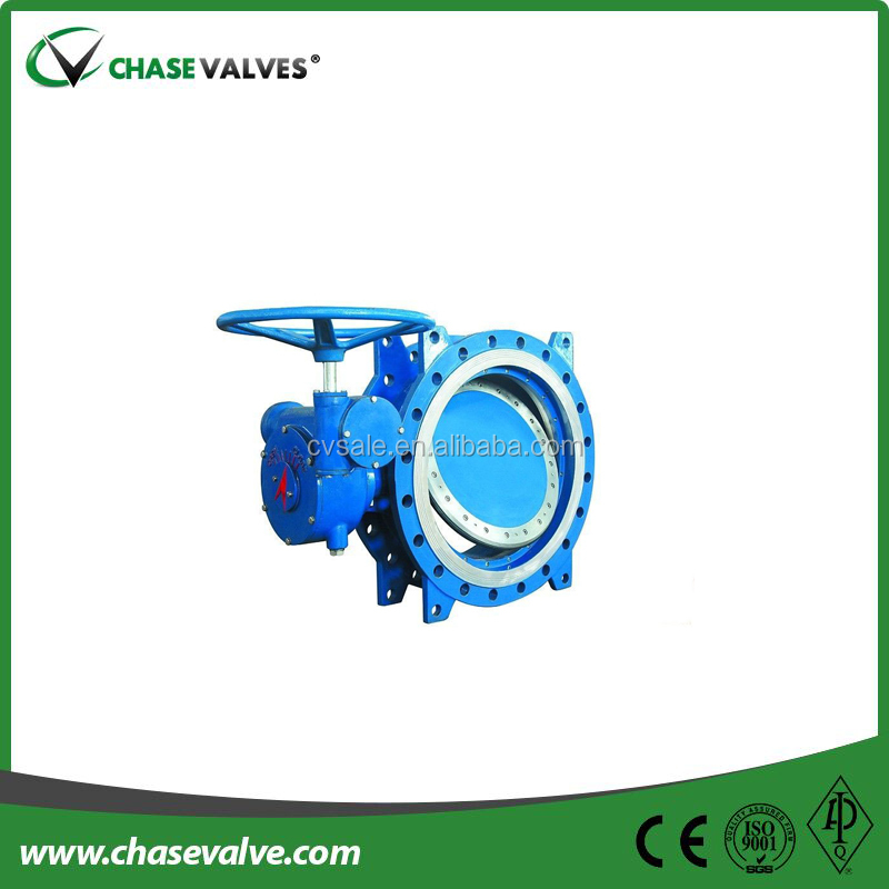 Triple eccentric metal seated double flange butterfly valves with gearbox
