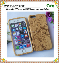 Hot New OEM Service Laser Engraving Mobile Phone Wood case for iPhone 6 5 5S