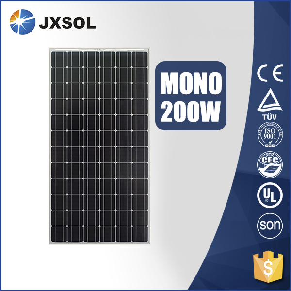 Full certificated and high efficiency high watt solar module mono 200w solar panel