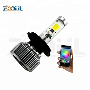 H11 H7 9005 9006 40W Color Changing Light Bulb By Bluetooth Control With High Low Beam LED Car Headlights