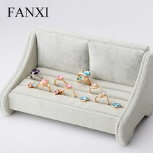 FANXI Creative Sofa Shape Silver Gray Color Jewelry Display Stand For Counter Shop Ring Earrings Holder With Slots Ring Display