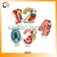 Cartoon birthday animal number candles