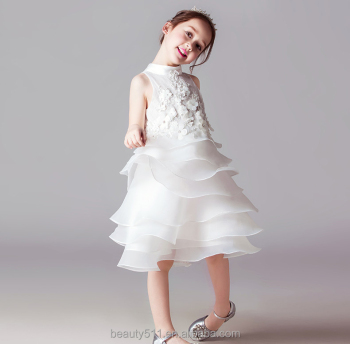 Lace sleeveless Tulle Flower Girl Dress Pattern baby birthday dress white wedding dress ED716
