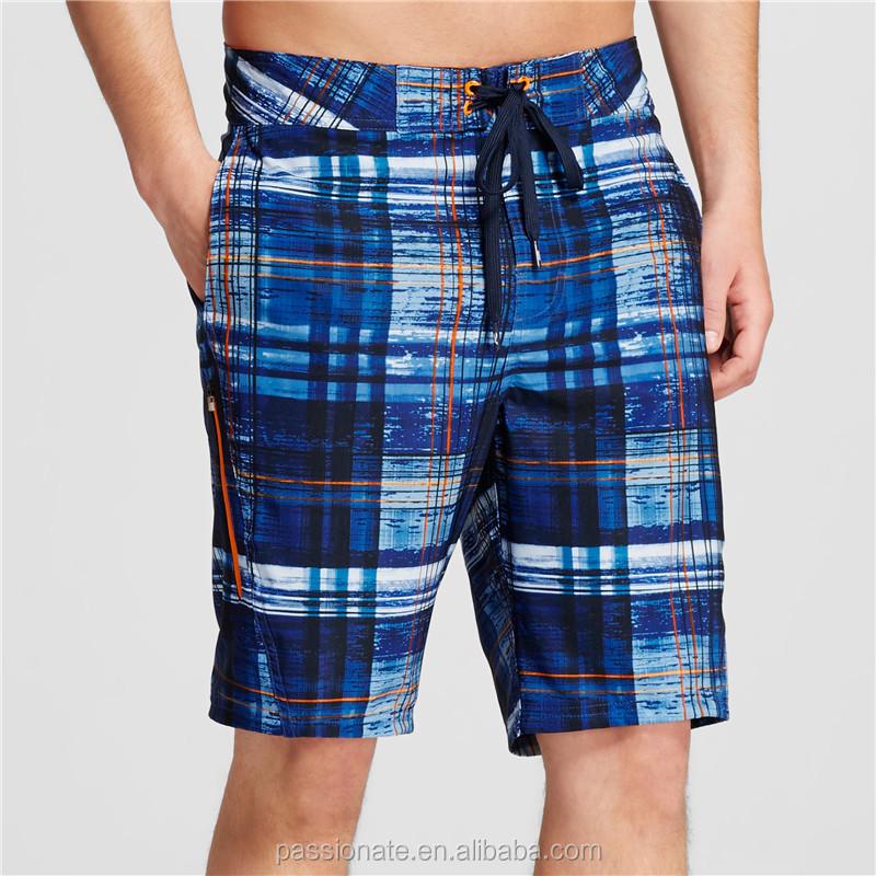 Cool Checks Print Swim Trunk Mens Oem Design Swimwear