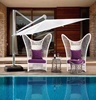 Nordic high-grade outdoor love white rattan wicker furniture angel wing designs chair+tea table set for swimming pool