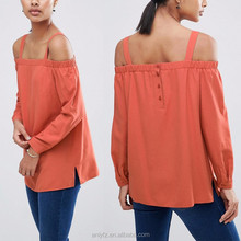 new hot design strapless 100% cotton safety lightweight long sleeve back button orange shirts for young women