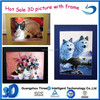 hot sale Hight quality PET Plastic 3d printing lenticular pictures with frame natural animation hologram printing for decoration