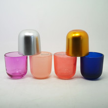 3.5oz painted multi colored glass votive candles holders and wood lids