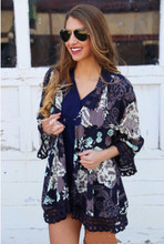 New style summer euramerican short cool fashion literature decorative border casual chiffon cardigan