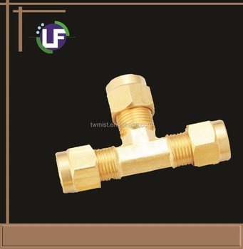 Brass OD Tee connector 3/8""