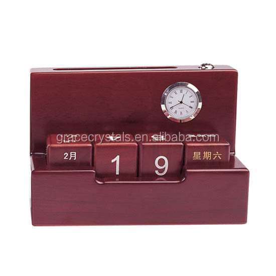Solid red wood desk top calendar with name card holder clock