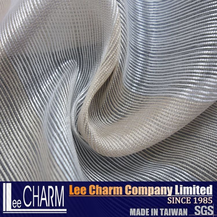 Golden & Silver Stripe Organza Voile for Curtain Decoration