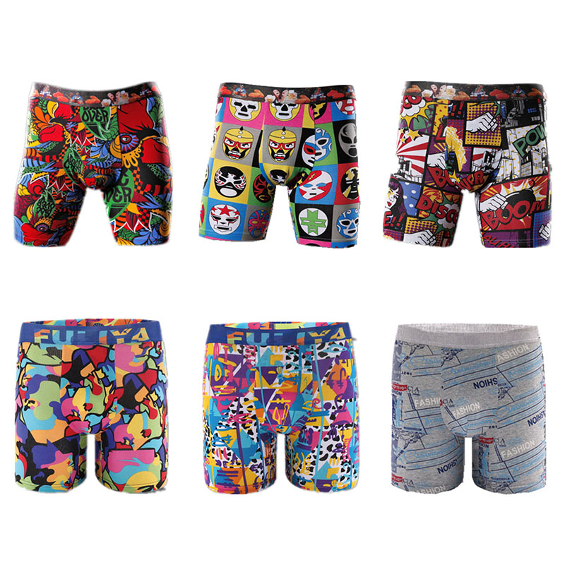 Printing pattern male long boxer shorts cheap wholesale Hot Selling Soft Touch Breathable Cotton Mens Underwear
