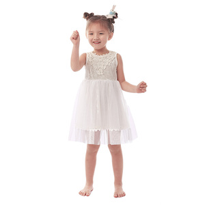Kids princess wedding dresses white tulle flower elegant girl party wear dress