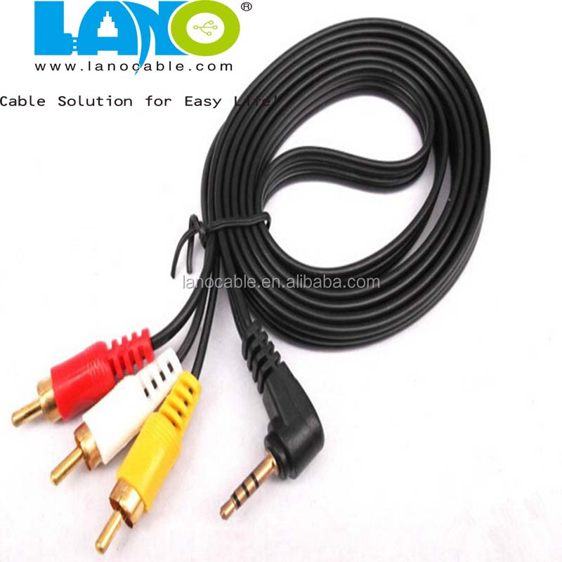 custom 1M/2M/3M male to male 3.5mm audio video to 3 RCA cable
