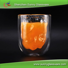 Borosilicate Heat Insulated Double Wall Glass for Juice Drinking