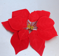 New design cheap artificial fabric christmas poinsettias with clip