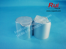 24/410 matte / frosted sliver collar aluminum disc top cap with clear inner, 24mm shine silver metal disc cap