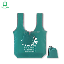 Custom printed logo 100% Recycled foldable rpet tote bag shopping bag into small pouch