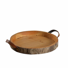 Mayco Antique Round Wooden Serving Tray with Handles for Kitchen Storage