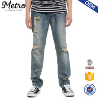2016 OEM Fashion Mens Ripped Washed Denim Jeans