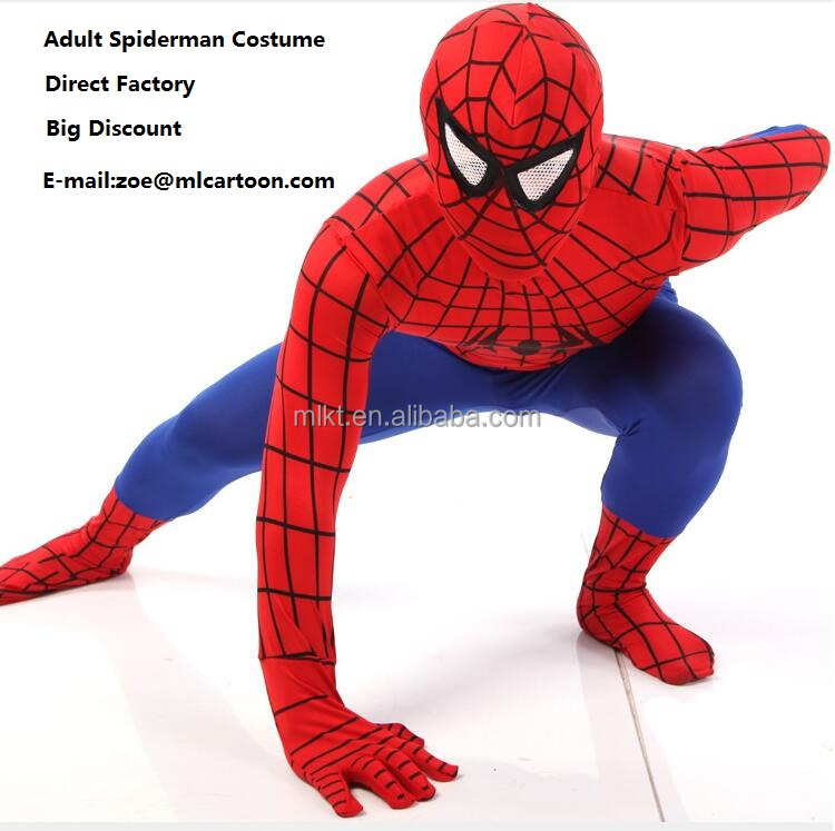 Popular movie character cartoon adult spiderman costume