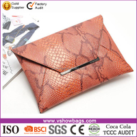 New Fashion Snake PU Leather Women Cosmetic Evening Party Bag Lady Envelope Clutch Purse Bag