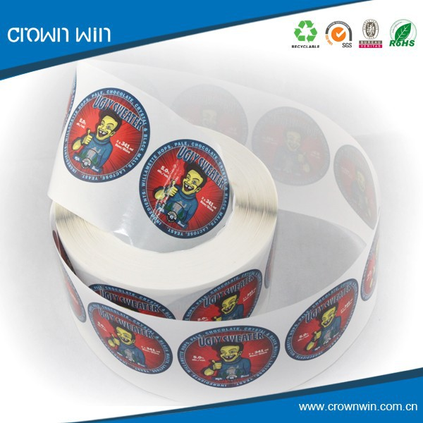 Roll vinyl water resistant wholesale round stickers