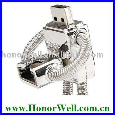 OEM Promotiona Children Gift Robot Model Metal USB Flash Drive with Smile Face Logo Printing Free