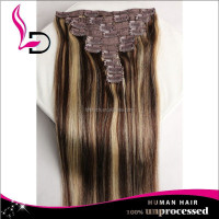 newest product ponytail double drawn top quality indian virgin remy two tone colored clip in hair extension