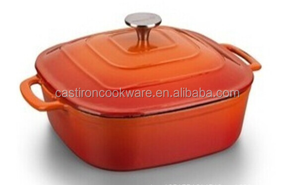 2014 Hot Sale Cast Iron Enameled Square Casserole / Cast Iron Cooking Pot