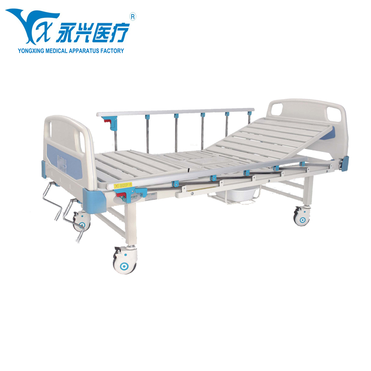 Hot Sale China Suppliers ICU 2 Cranks Manual Hospital Bed With Commode