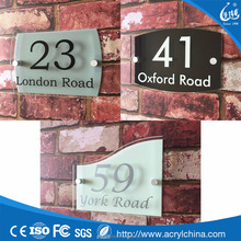 Modern House Sign Plaque Door Number Street Glass Effect Acrylic Name Address
