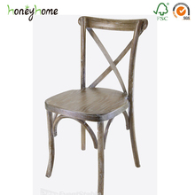Wholesale Used Antique Hand White Tiffany Wedding Restaurant Dining Cafe Cross Back Carving Carved Curved Solid Teak Wood Chairs