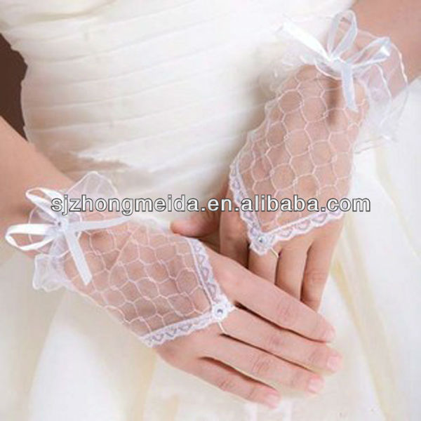 married accessories embroidered satin hollow gloves wedding dress long gloves