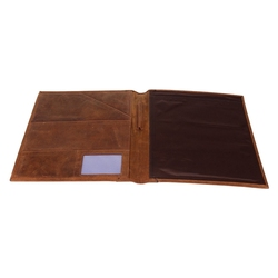 Vintage leather portfolios dark brown presentation file folders with pockets fashion office gifts item genuine leather hot