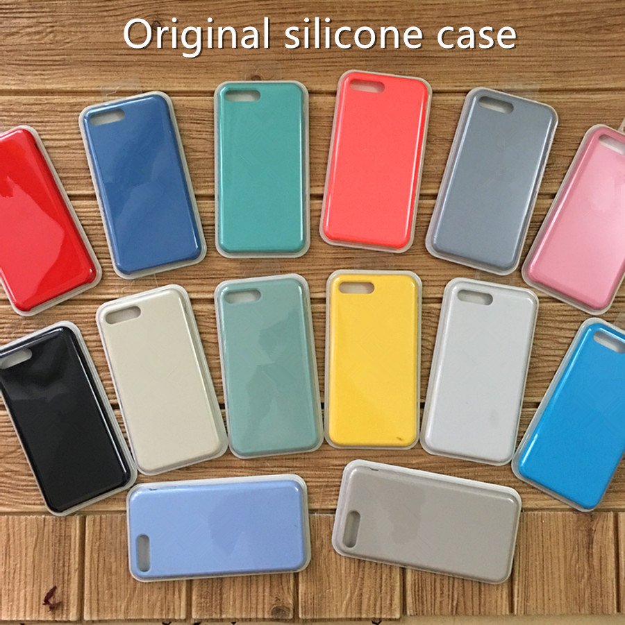 2017 New Liquid Silicone Rubber Mobile Phone Case for iphone 5 SE 6 6s 7 8 plus Original Back Cover Case DHL free shipping