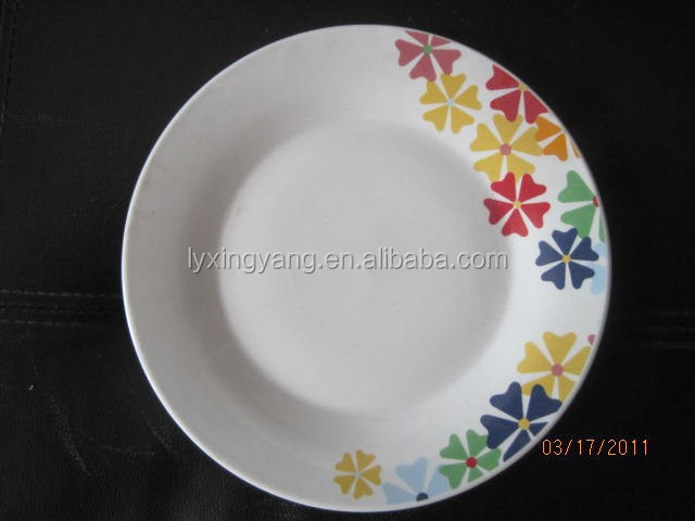 9 inch round flower cheap ceramic soup plate with silver line